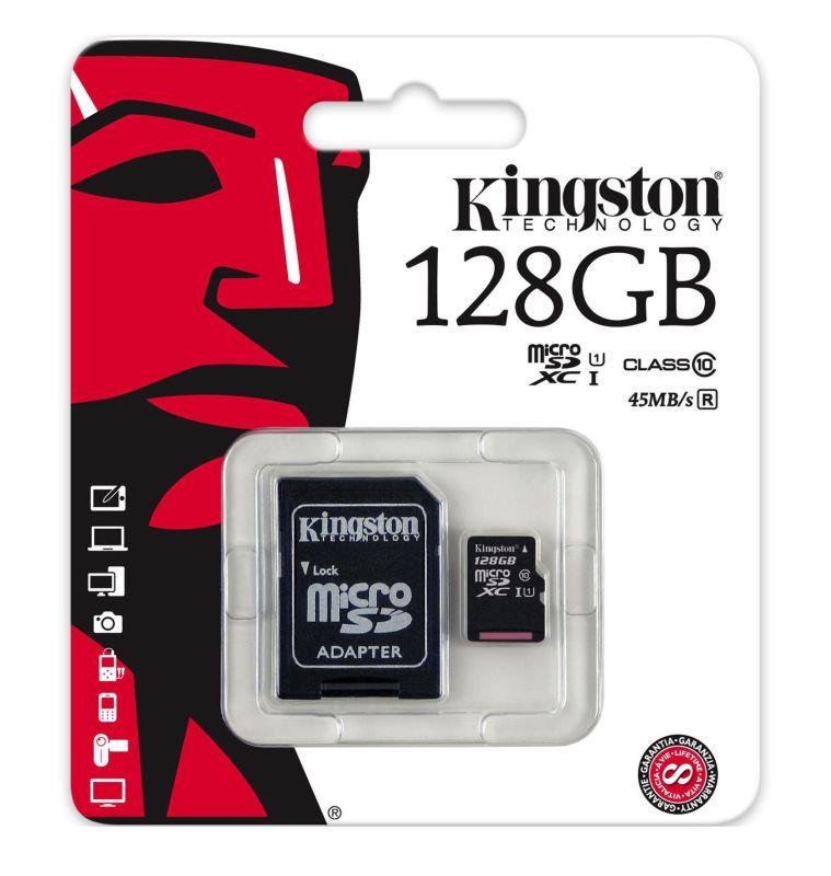 Kingston Micro SDXC 128GB Class 10 s adaptérem