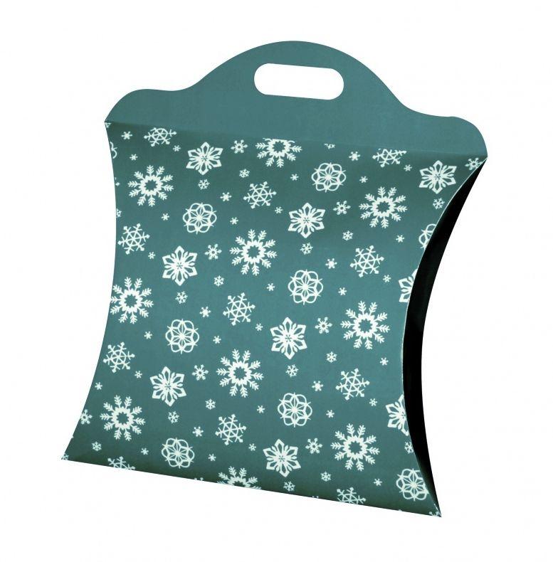 Kazeto dárková taška vánoční vločky zelená velká