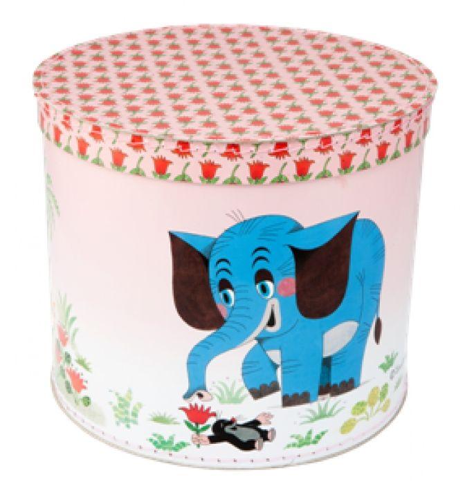 Kazeto krabice kruhová 30cm Krtek a slon