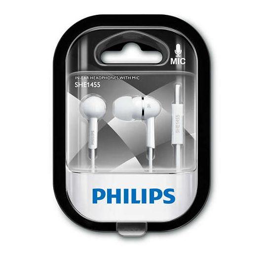 Philips sluchátka s mikrofonem SHE1455WT/10 white