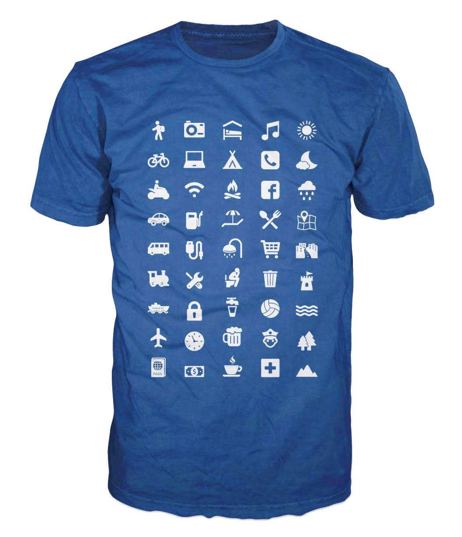 Cestovatelské triko s piktogramy XXL modré