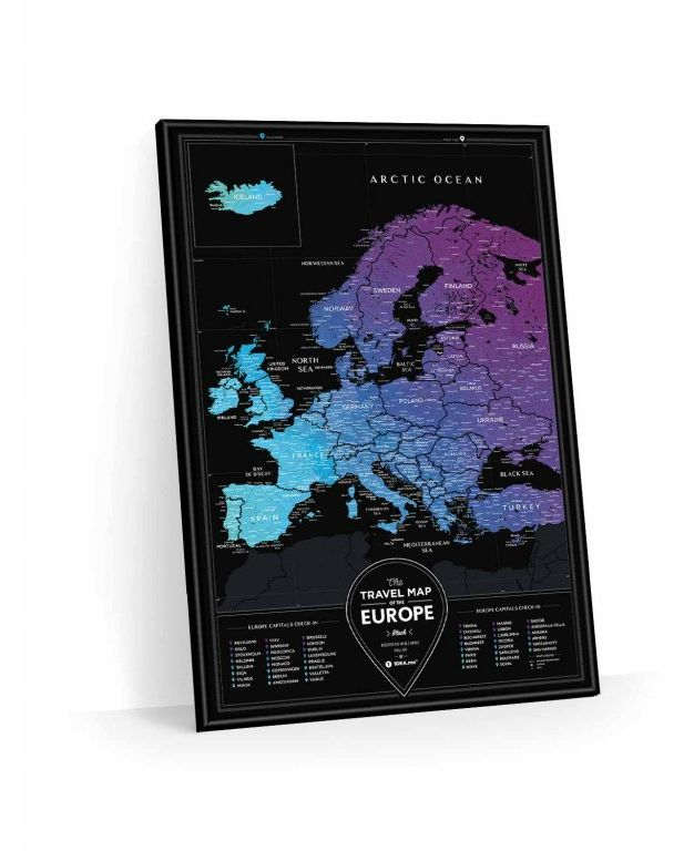 Stiraci Mapa Evropy Travel Map Europe Black
